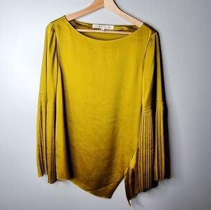 Olivia Palermo x BR Pleated Silk Top Size Medium